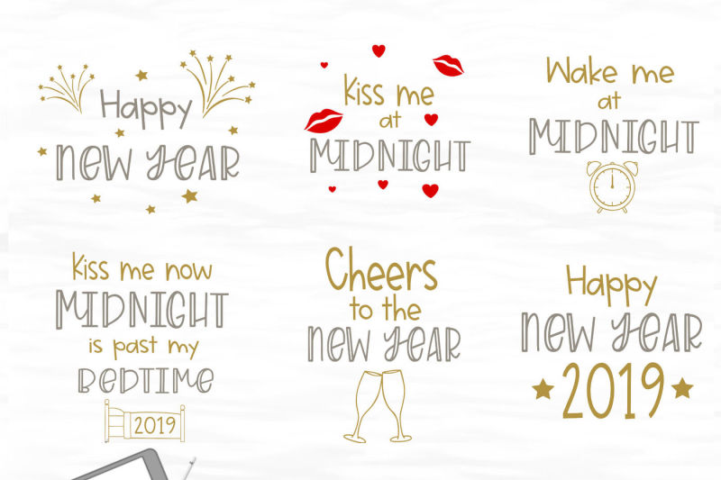 New Year SVG Bundle - 6 New Year\u0027s SVG files By Stacy\u0027s Digital