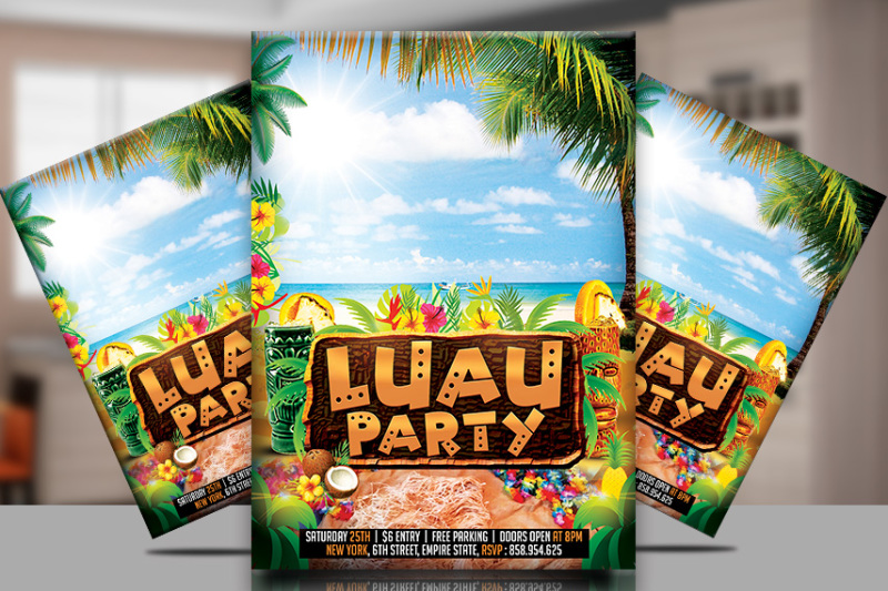 Luau Party Flyer Template By TWorldDesigns TheHungryJPEG