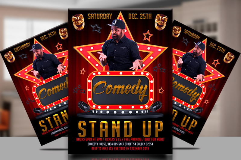Comedy Show Flyer Template By TWorldDesigns TheHungryJPEG