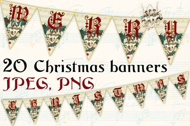 MERRY CHRISTMAS BANNERS By AleFairyland TheHungryJPEG