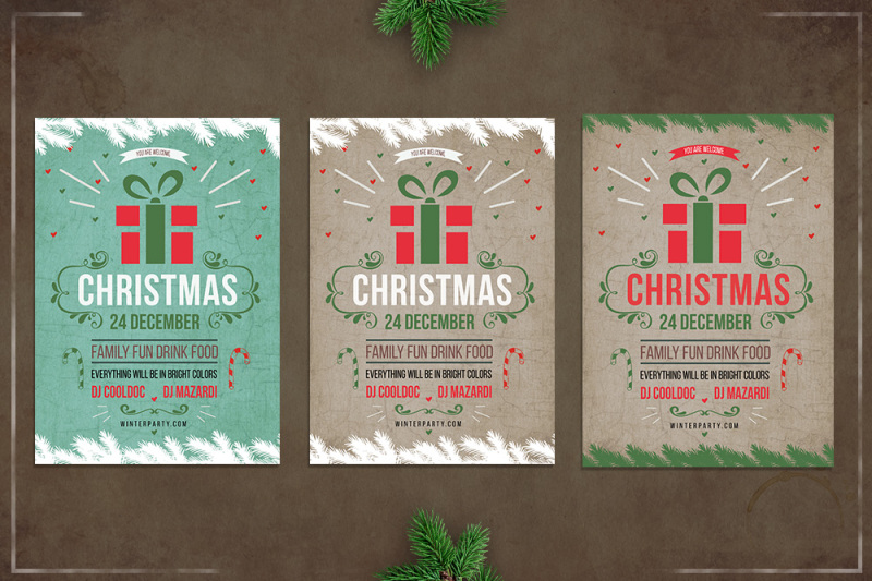 Christmas retro flyer template By dvr TheHungryJPEG