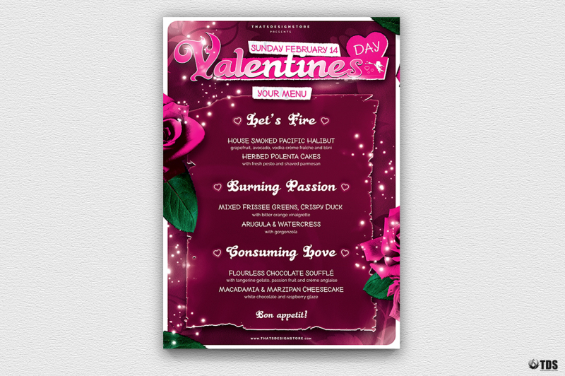 Valentines Day Menu Template V7 By Thats Design Store