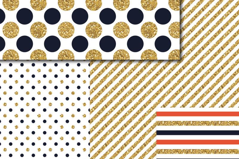 Navy blue and Orange gold digital paper, Glitter digital paper, Gold