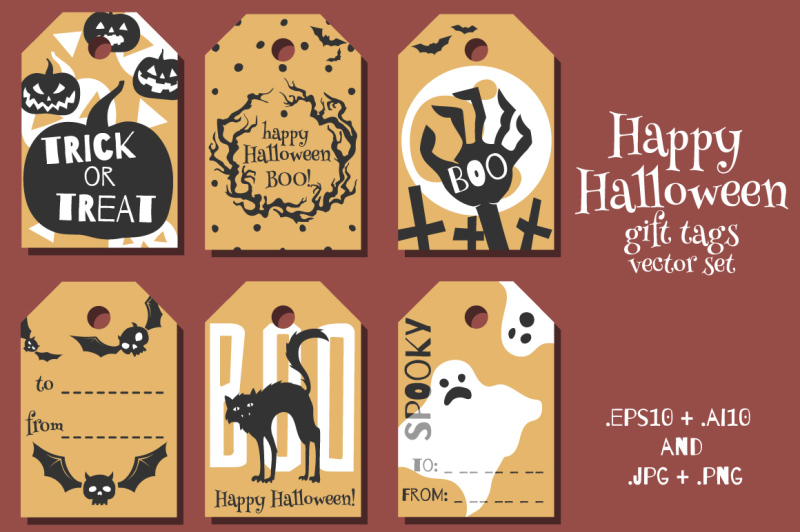 Free Halloween gift tags vector set Crafter File - Free Templates