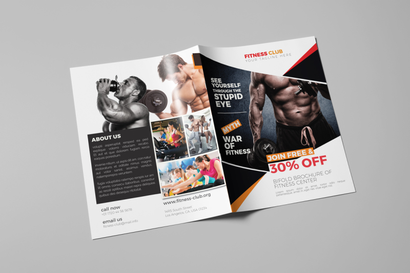 Creative Bifold Gym/Fitness Indesign Brochure Template By Hemonto