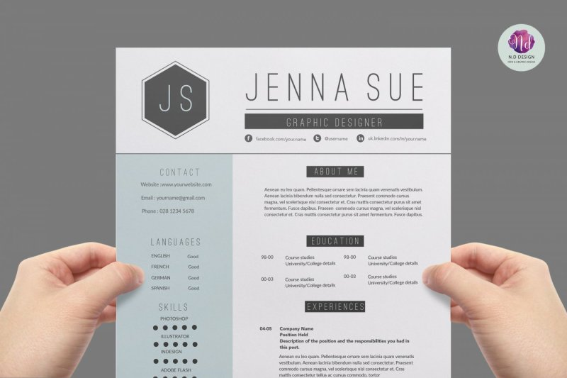 Two Page CV Template By Chic templates TheHungryJPEG