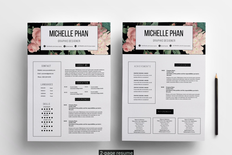Floral 2 page CV template / resume template By Chic templates