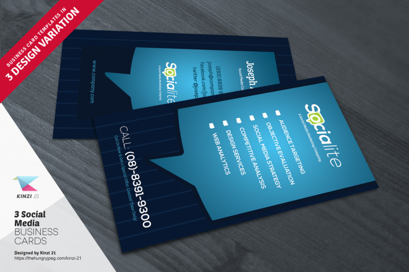 3 Social Media Business Card Templates By Kinzi 21 TheHungryJPEG