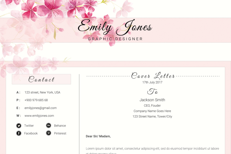Water Color Resume Template - CV/Cover Letter Template /C By