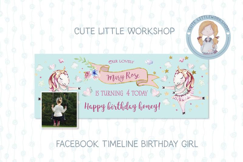 Facebook Timeline Birthday Unicorn Template By Cute Little Workshop