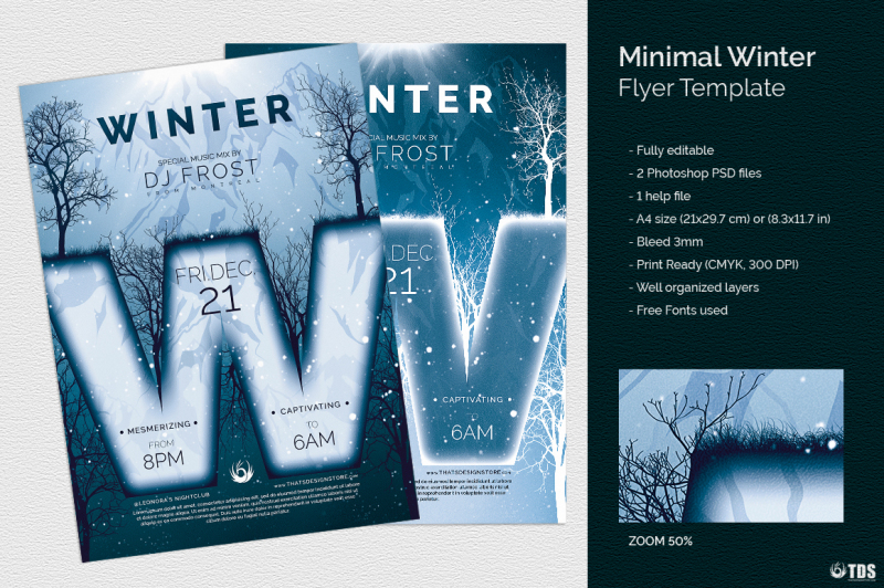 Minimal Winter Flyer Template By Thats Design Store TheHungryJPEG