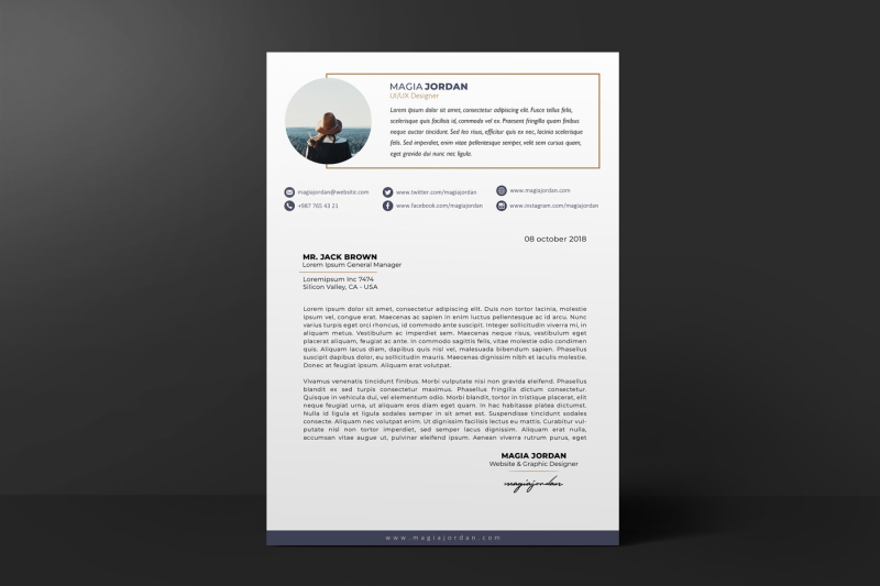 Resume / CV + Cover Letter + Portfolio Page Template By illycreative