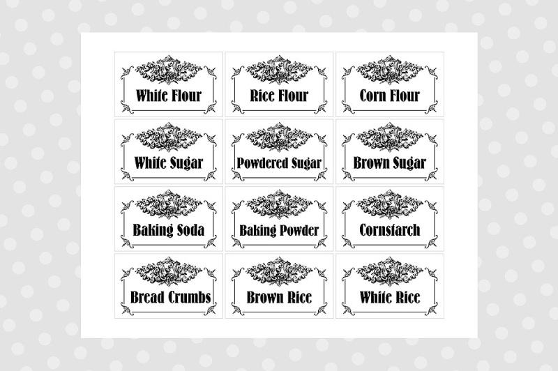 Black  White Printable Pantry Labels - Vintage By CraftArtShop
