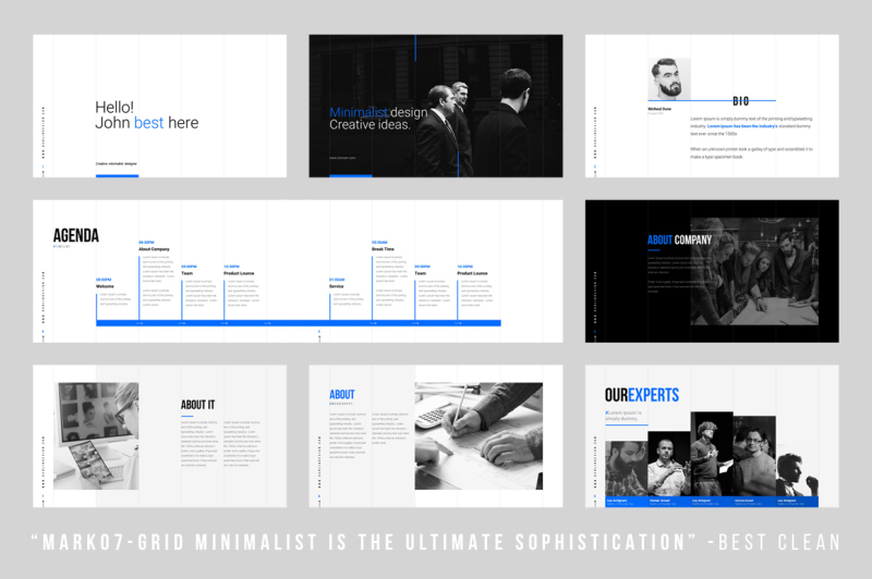 Grids - Minimal Powerpoint Template By Dublin_Design TheHungryJPEG