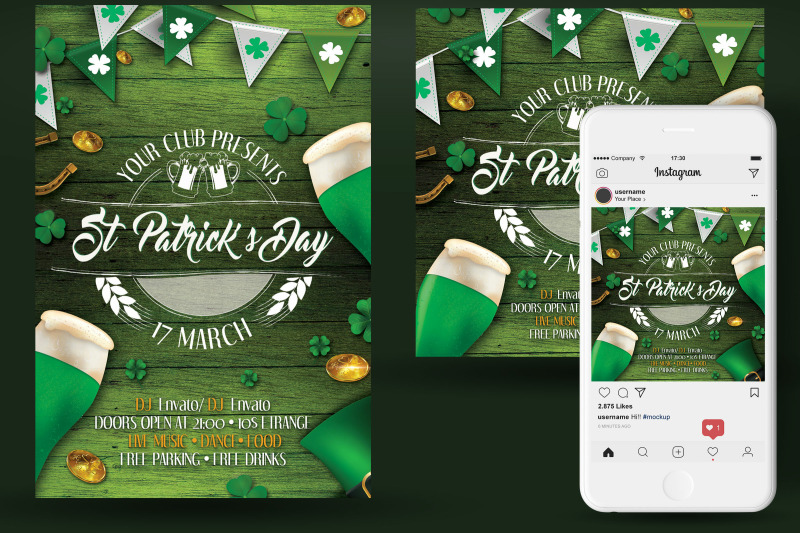 St Patrick\u0027s Day Flyer And Poster By oloreon TheHungryJPEG