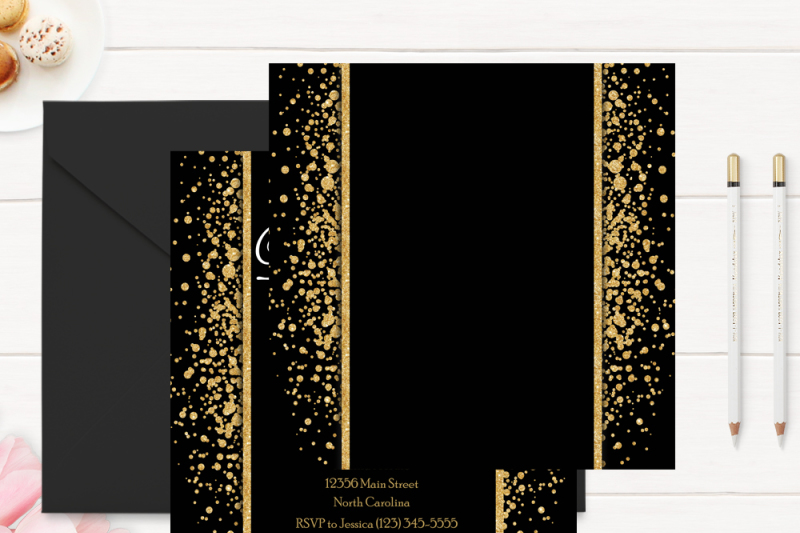 Gold and Black 50th Birthday Invitation Template By VioletPrints