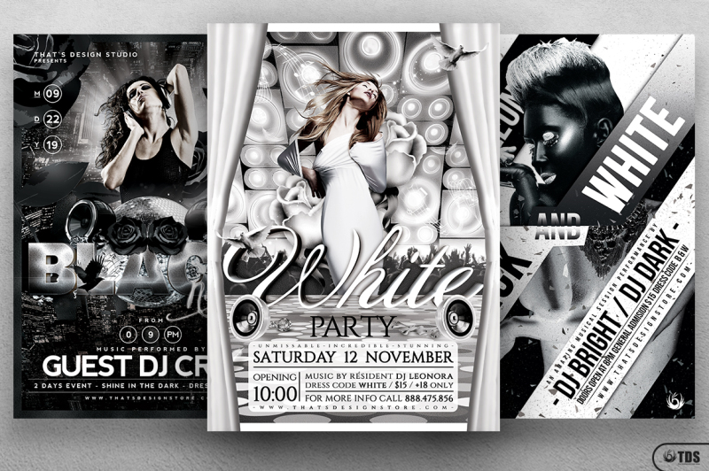 Black and White Party Flyer Bundle By Thats Design Store