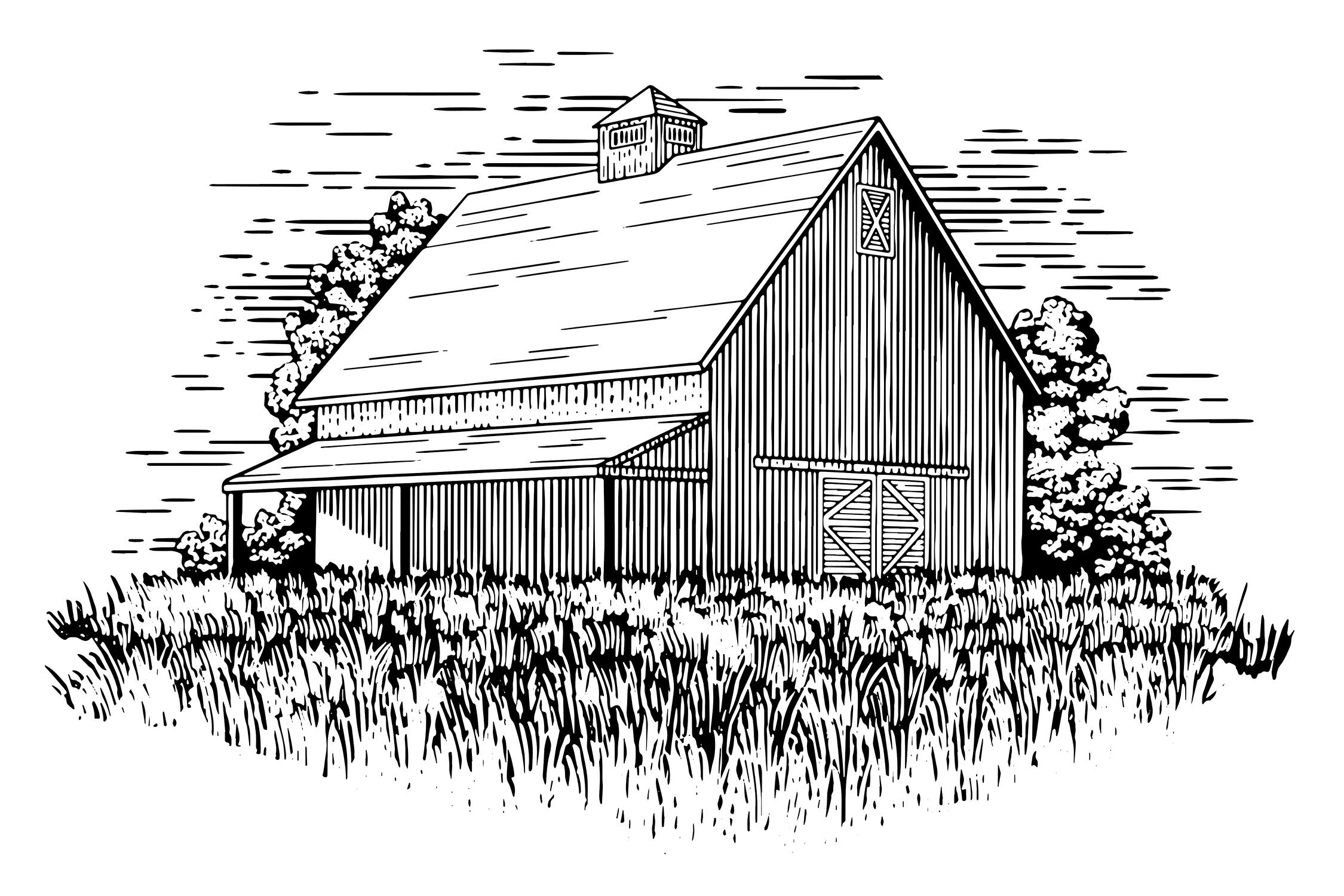 Old Barn Illustration By John Morris Thehungryjpeg Com