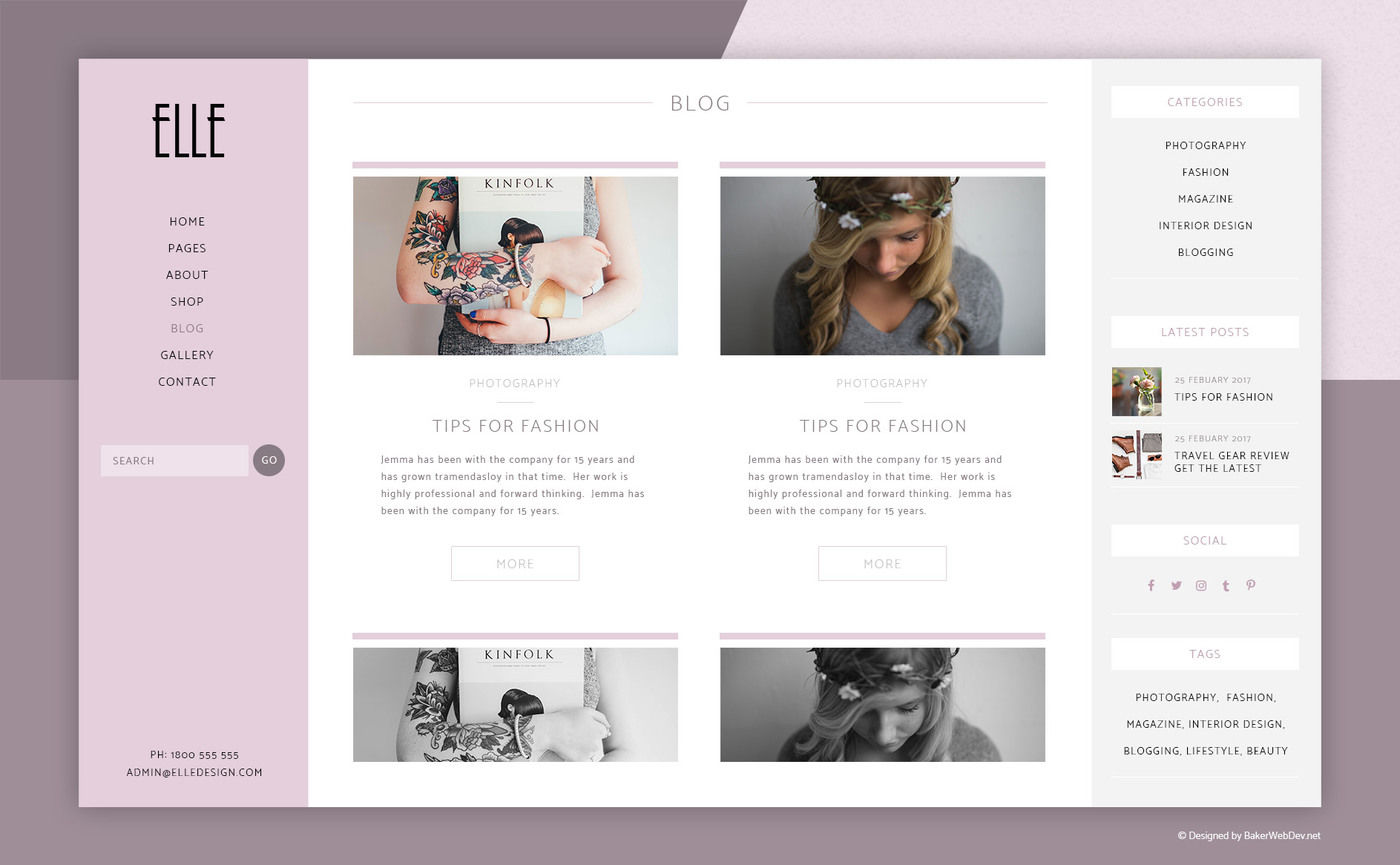 Photoshop 6 Elle Fashion Shop Blog Website 6 Photoshop Psd By Bakerwebdev