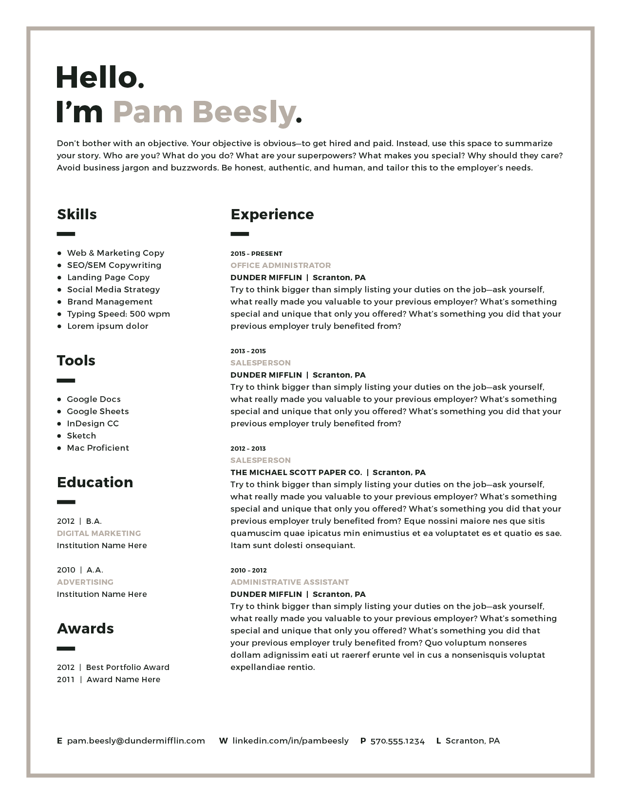 modern resume template mac pages