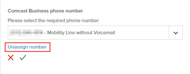 Assign a phone number to a Comcast Business My Account user