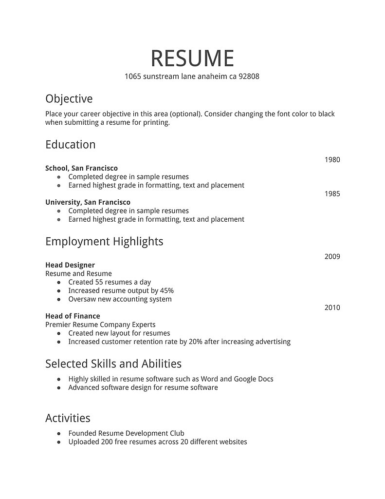 Resume Format For Job Pdf