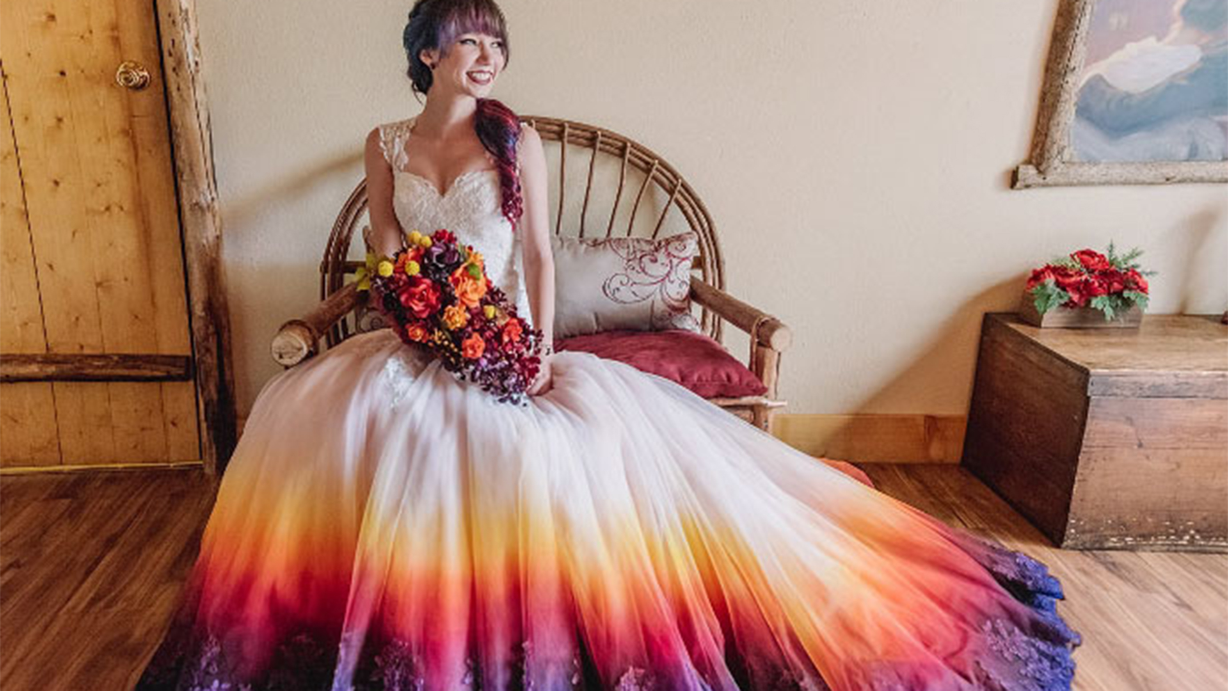 dip dyed colorful wedding dresses are new bridal trend t colorful wedding dresses Dip dyed colorful wedding dresses are the new bridal trend TODAY com