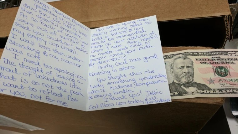 Starbucks barista gets apology note, $50 from rude customer