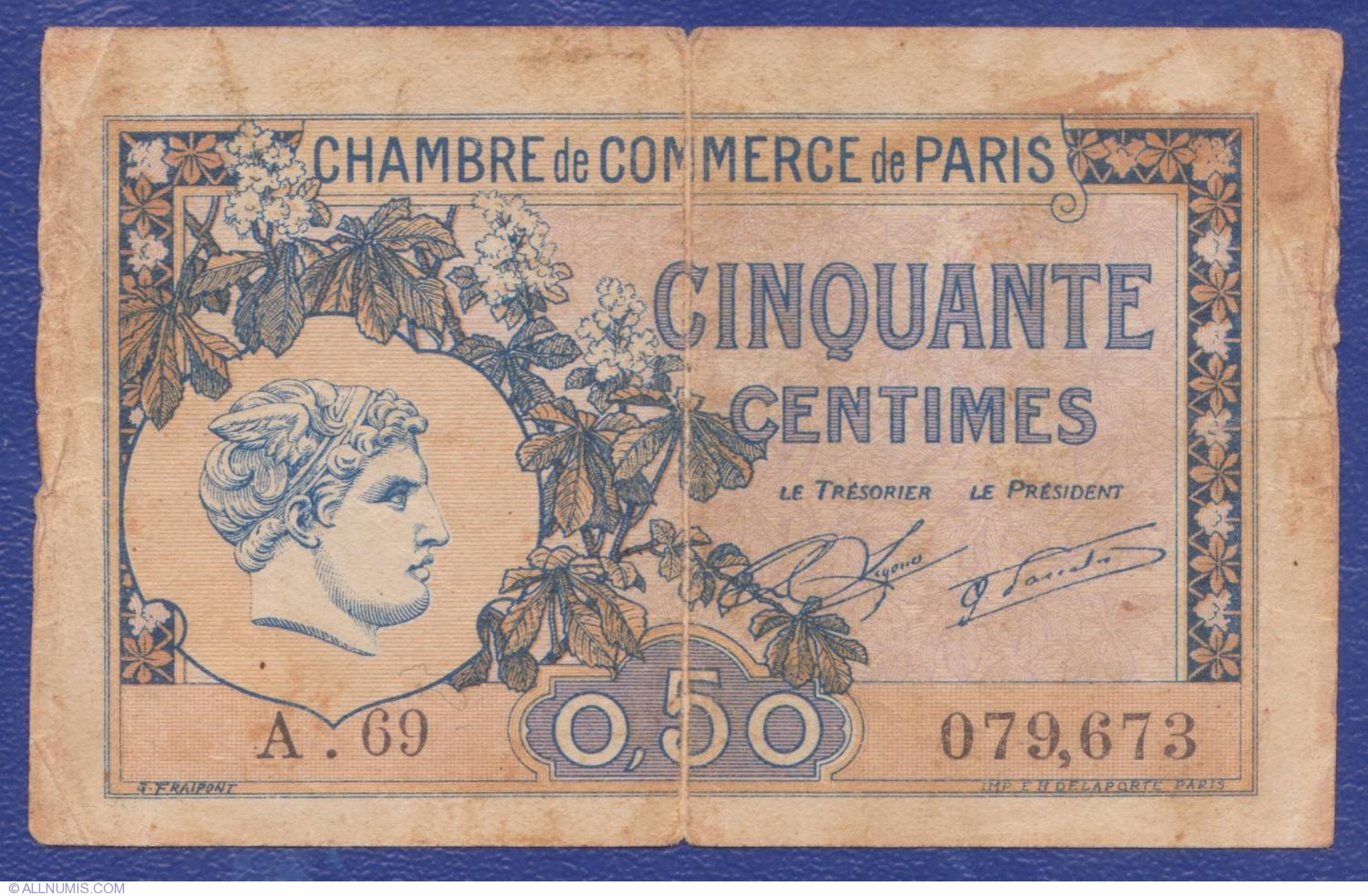 Chambre De Commerce De Paris 50 Centimes 1920 Paris Chambre De Commerce France