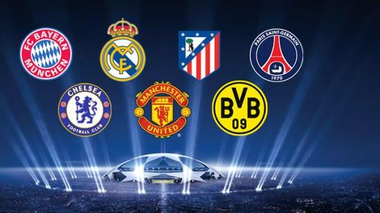Bayern, Dortmund, Madrid, Atlético, PSG, Chelsea and United will be
