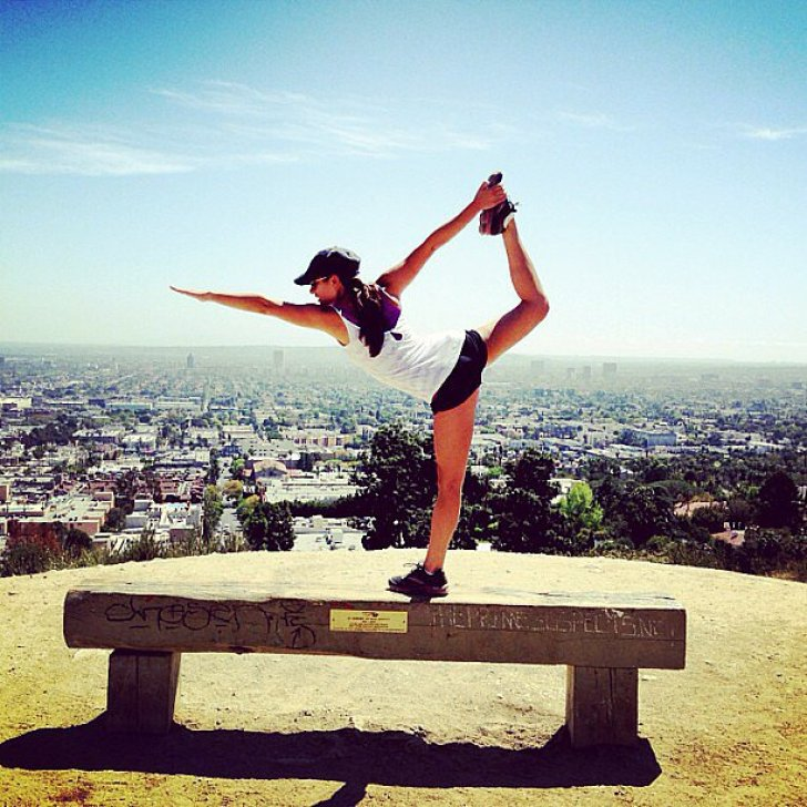 Lea Michele put her yoga moves on display during an afternoon hike in LA.<br /> Source: Instagram user msleamichele<br />