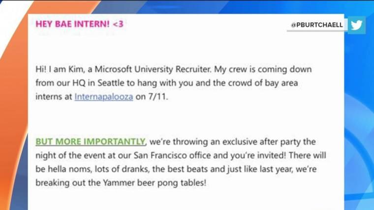 Hey Bae Intern\u0027 Microsoft\u0027s slangy recruitment email fail - interning at microsoft