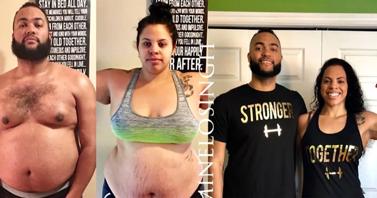 How to lose weight Couple loses 215 pounds with diet and exercise