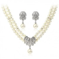 Classic Vintage Pearl Drop Bridal Jewelry Set | Fashion