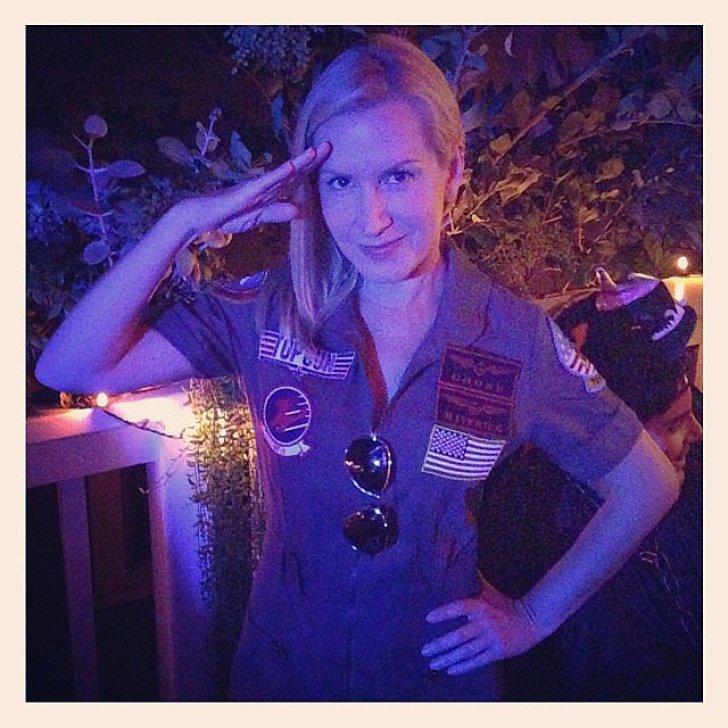 Angela Kinsey channeled Top Gun's Maverick for Halloween.<br /><br /> Source: Instagram user angelakinsey<br /><br />
