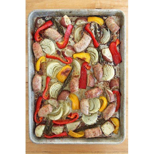 Medium Crop Of Sausage And Peppers In Oven