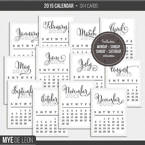 pretty printable calendars 2015