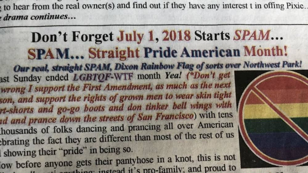 Elected official under fire after calling for \u0027Straight Pride\u0027 Month