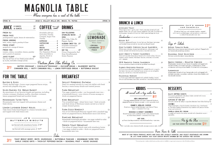 Chip and Joanna Gaines\u0027 Magnolia Table restaurant now open - menu