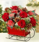 Traditional Tidings Sleigh Arrangement - Medium