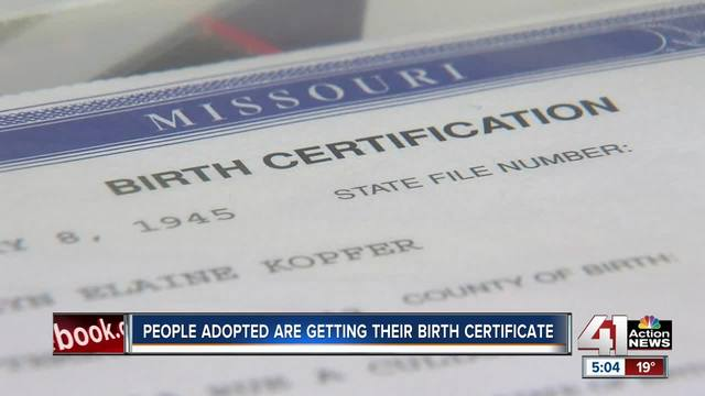 MO adoptees given access to original birth certificates for first - birth certificate