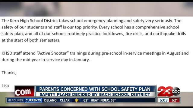 Parents express concern for current safety plans in Kern County