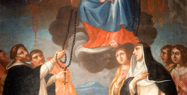 St Dominic receives the rosary from Our Lady  -Dominican Church - Krakow, Poland