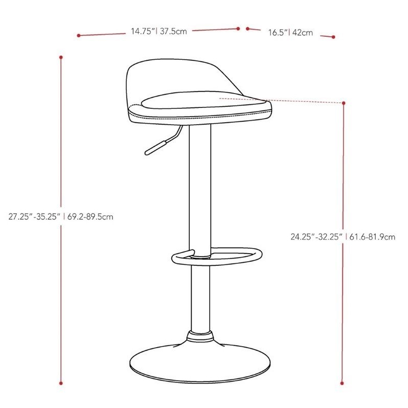 Low Profile Adjustable Bar Stool in Black (Set of 2)