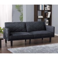 Microfiber Convertible Sofa in Navy Blue - 2097619