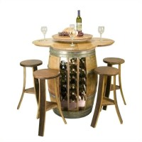 Napa East Collection Wine Barrel Table Set with Open Rack ...