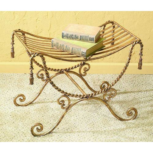 Dr Livingstone I Presume Antique Gold Iron Bench With Swag And