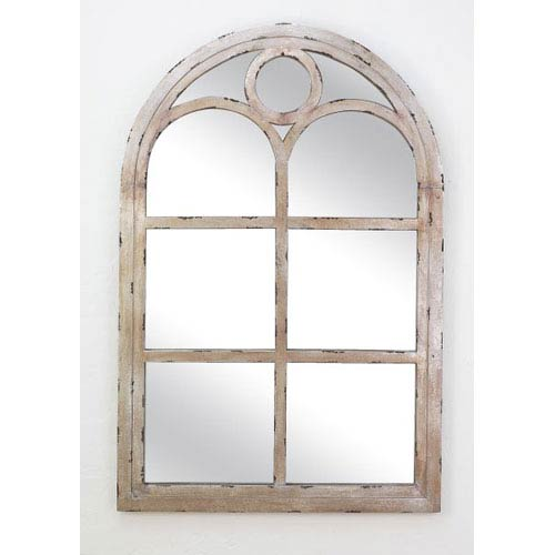 Dr Livingstone I Presume Distressed Silver Wood Arch Top Window