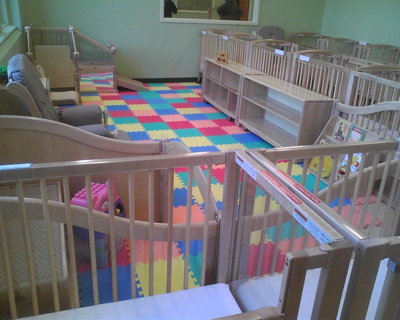 The main room of the daycare center for student parents at the benjamin franklin high school can accommodate 24 babies and toddlers
