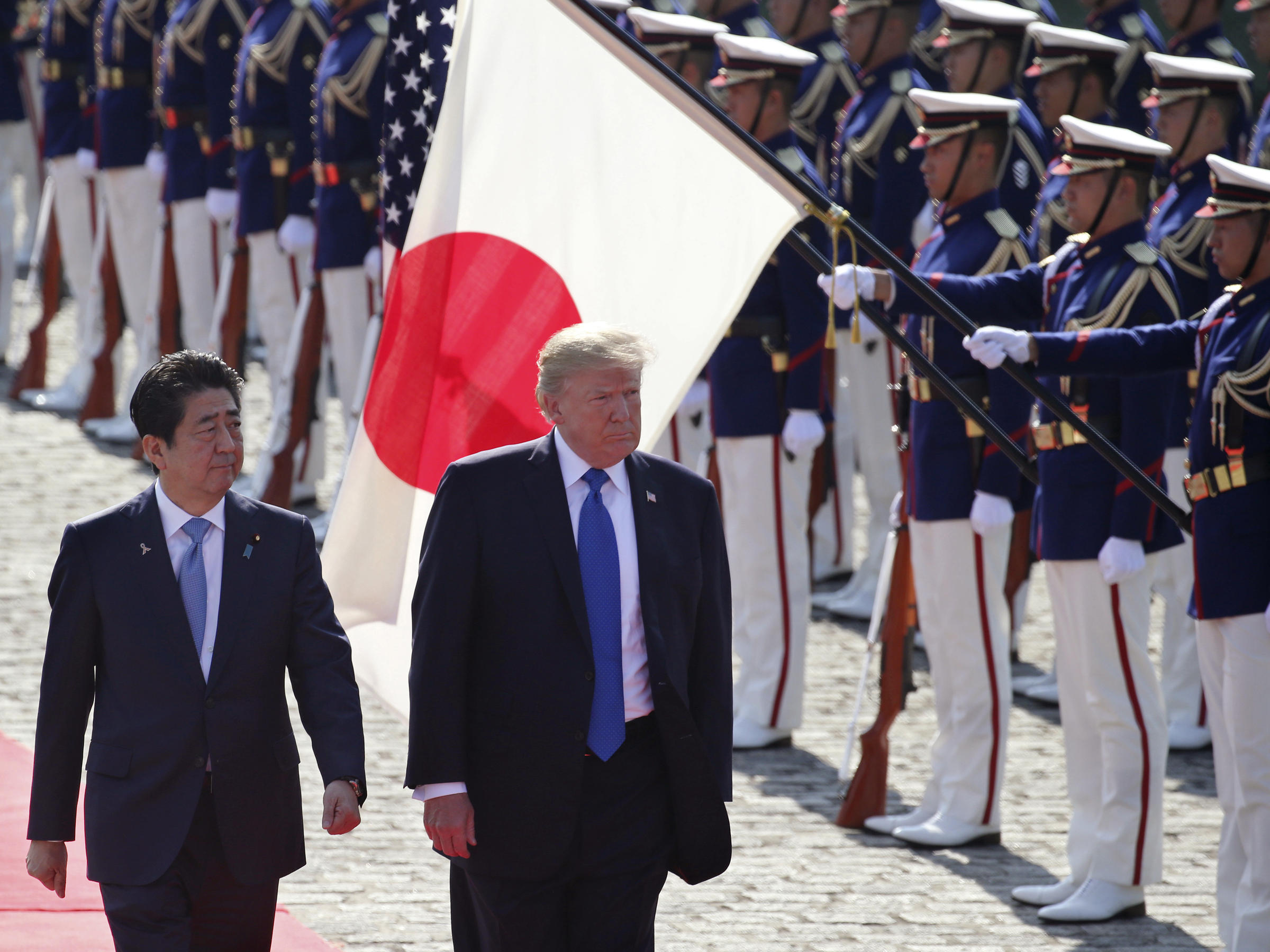 Inspiring President Donald Trump Reviews An Honor Guard During A Escorted By Japanese Prime Minister Shinzo At Akasaka Palacein Premier Visits Trump Amid Troubles Both Foreign Domestic dpreview Abes Of Maine Reviews